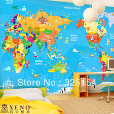 Map Of The World Background The Large Mural Wallpaper Of Childrens Bedroom Background Wall