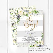 Boy Baby Shower Invitation Baby Boy Shower Invitation Themes Blue Floral Baby Shower Invite Blue And Gold Printable Or Printed No 1575baby