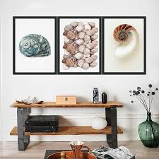 Minimalist Snail Shells Posters <b>Seascape Printed</b> On Canvas Nordic ...