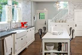 White Kitchen Bench Island Metal Stools French Country Kitchen Ideas