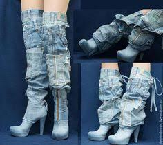 <b>jeans</b> boots inspiration | needlework | Джинсовая обувь, Переделка ...