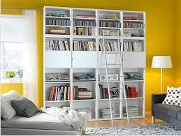 Wonderful Ikea Besta Bookcase With Ladder White High Quality Arsip Filling  Cabinet Yellow Colour Wall Elegant ...