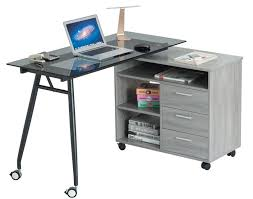 office furniture on wheels. L-Shape Black Glass Portable Office Desk: Computer/PC/Laptop Desk/Table/Workstation W/ Drawers And Wheels, Gray. Designed To The Highest Qual Furniture On Wheels A