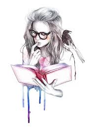 reading book drawing
