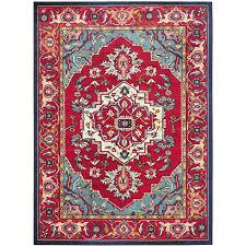 safavieh monaco heritage red turquoise indoor oriental area rug common 12 x 18