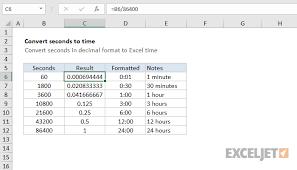 Excel Formula Convert Decimal Seconds To Excel Time Exceljet