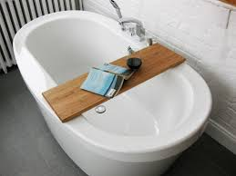 image of diy teak bathtub caddy