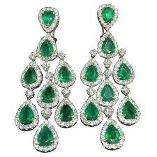 emerald chandelier earrings classic emerald and diamond chandelier dangle earrings for at large emerald chandelier