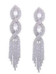rhinestone faux crystal chandelier earrings silver