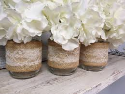 Set of 3 Burlap and Lace Wrapped Mason Jars. Perfect for Gifts, Home  Decorations