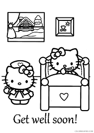 Chinese dragon coloring pages to print. Hello Kitty Get Well Soon Coloring Pages Coloring4free Coloring4free Com