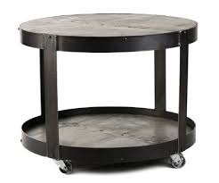 Coffee Table:Zentique 1003 Recycled Metal Round Cocktail Table On Wheels  Round Coffee Table With