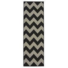 county chevron black white rug