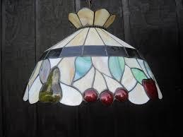 vintage stained slag glass chandelier