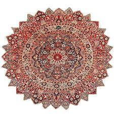 round antique khorassan persian rug for