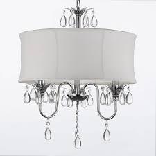 white drum shade crystal ceiling chandelier pendant light fixture lighting lamp com