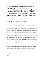 johnson evinrude outboard hp hp service repair workshop 1971 1989 johnson evinrude outboard1hp 60hp service repair workshopmanual iumlfrac141361971 1972 19731974