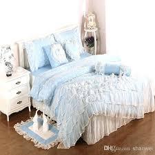 ruffle duvet cover queen light blue cotton satin princess lace girl duvet cover bed skirt pillowslips set bedding set for twin full queen king comforter