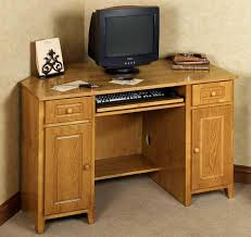 image of small corner office desk with hutch