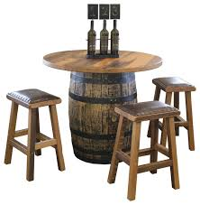reclaimed barn wood round barrel pub table and stools 5 piece set 42