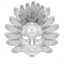 Carnaval Masker Coloring Boek Voor Volwassenen Vector Stockvector