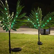 Palm Tree Lights Solar Obrecis Led Palm Tree String Solar Lights 2 Pcs Artificial Leaves String Lights Waterproof Plant Solar Garden Lights For Pathway Lawn Outdoor