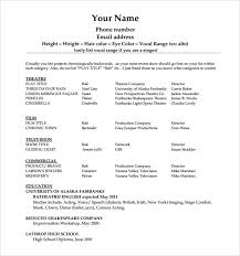 beginner acting resume template actors resume template word