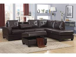 emily 3 pc dark brown faux leather reversal sectional sofa set with storage ottoman com