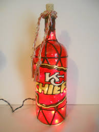 lighted handpainted wine bottle kansas city chiefs inspired stained glass look by hillysboutique on