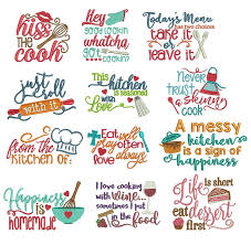 Free Machine Embroidery Sayings Designs Kitchen Word Art Doodle Machine Embroidery Designs