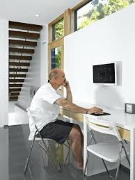 image by inc contemporary computer desk glass home office modern with built in monitor clerestory