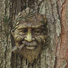 tree face spirit w pipe plaque garden fairy yard decorations outdoor