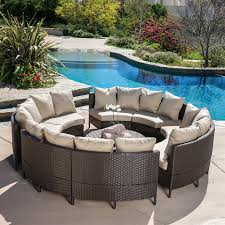 Patio, Gray Round Unique Wooden Wicker Patio Furniture Cheap With Chairs  And Table Or Pool