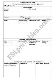 Reason For Leaving Job On Application Form Job Application Form Esl Worksheet By Safia26uk