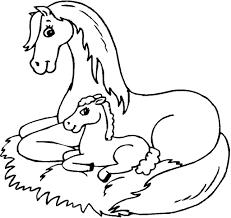 Kleurplaat Paard Met Veulen Dejachthoorn