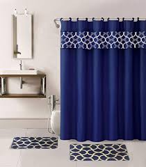 Navy Blue Shower Curtain With Rug And Racks And Mirror