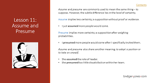 What Is The Difference Between Presume And Assume Assume And Presume BRIDGER JONES 12