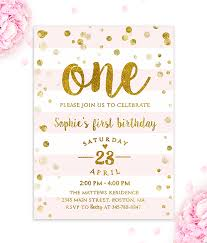 First Birthday Invitation Girl Pink And Gold Merryelle Design Beauteous Birthday Invitation Pictures