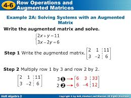 example 2a solving systems with an augmented matrix