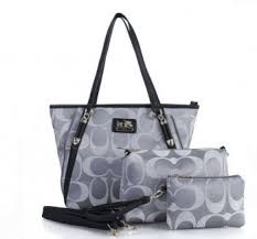 Coach Legacy Duffle Signature Medium Grey Shoulder Bags Combination Deals