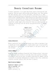 Resume Templates Beauty Consultant Examples Awesome Collection Of