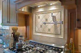 backsplash designs. Limestone Backsplash Tiles With Glass Accents Designs