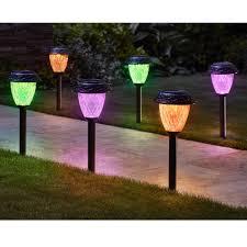 Orange Garden Lights The Customizable Color Solar Garden Lights Hammacher Schlemmer