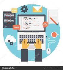 Web Developer Writing Source Code Build Website Flat Vector
