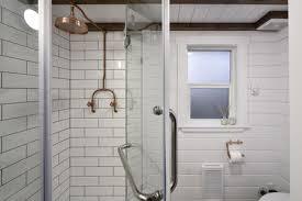 copper fixtures in tiny house bathroom