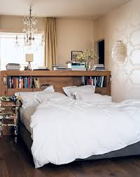 Bedrooms:Chic Bedroom With White Bed And Wood Bookshelves Headboard Under  Glass Chandelier Chic Bedroom