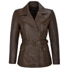angelina las real lambskin brown leather jacket trench mid length winter coat short jackets angelina las