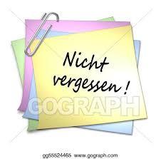 memo kredit drawing german memo with paper clip nicht vergessen clipart