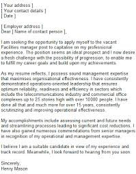 Technical Manager Cover Letter Cover Letter For Facility Manager Position Facilities Manager