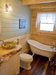 Rustic Log Home Bathroom With Clawfoot Tub Katahdin Log Home - Clawfoot tub bathroom